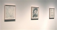 eve aschheim installation of drawings (checklist 1. - 3.)<br>[right to left] by eve aschheim